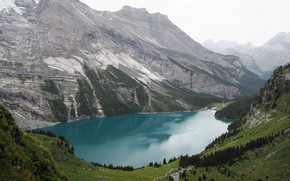 Picture trees, mountains, Switzerland, pond, Lake Oeschinensee