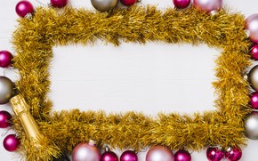 Picture decoration, balls, colorful, New Year, glasses, Christmas, tinsel, champagne, Christmas, balls, New Year, decoration, xmas, …