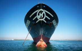 Picture The ocean, Sea, Chain, The ship, Nose, A container ship, Tank, Bulb, Vessel, Hanjin, Container ...