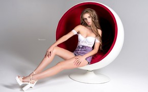 Picture pose, background, model, portrait, chair, makeup, figure, slim, hairstyle, shorts, brown hair, legs, t-shirt, sitting, ...