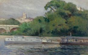 Picture landscape, picture, Maximilien Luce, Maximilien Luce, Boats in front of Trees and Bridge
