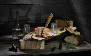 Picture dill, bread, meat, still life, vodka