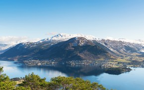 Picture trees, mountains, shore, home, Norway, panorama, Bay, Uskedal