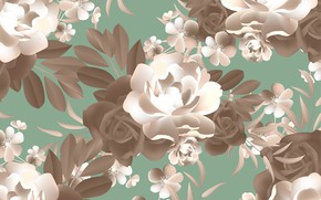 Picture flowers, background, pattern, roses, texture