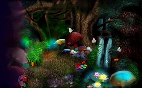 Picture butterfly, flowers, mushrooms, flowers, mushrooms, fantasy art, butterflies, magic forest, magic forest, fantasy art, large …