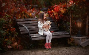 Picture autumn, bench, toy, bear, girl, Anastasia Barmina