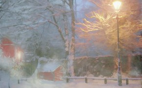 Picture winter, snow, trees, street, the evening, Fox, lantern, house