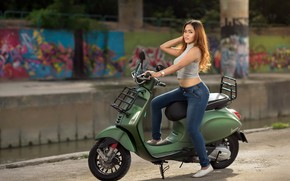 Picture girl, street, scooter