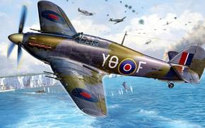 Picture Hawker, British single-seat fighter, Sea Hurricane IIC, Sea Hurricane Mk.II C, equipped with a marine …
