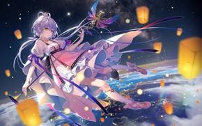 Wallpaper girl, space, Vocaloid