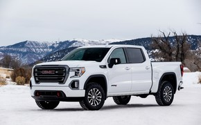 Picture winter, white, pickup, GMC, Sierra, AT4, 2019