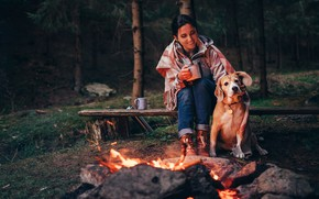 Picture forest, girl, trees, fire, dog, the evening, the fire, dog, Cup, plaid