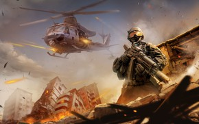 Picture The city, Fire, Helicopter, Soldiers, Weapons, Destruction, Machine, Art, Attack, Zheming Liu, by Zheming Liu