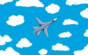 Wallpaper Clouds, Minimalism, The plane, Fighter, Russia, Art, The view from the top, Su-24, The Russian ...