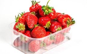 Picture strawberry, white background, treat