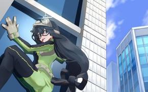 Picture girl, the city, the building, Boku no Hero Academy, My hero Academy, Asui Tsu