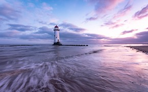 Picture sea, shore, lighthouse, England, the evening, surf