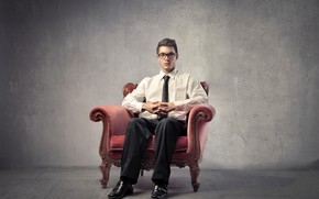 Picture look, pose, background, wall, portrait, glasses, tie, shoes, male, shirt, guy, sitting, in the chair, …