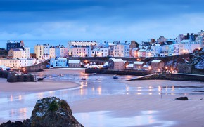 Picture winter, home, harbour, Wales, Tenby