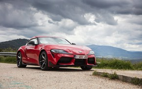 Picture mountains, coupe, Toyota, Supra, the fifth generation, mk5, double, on the side, 2019, GR Above, …