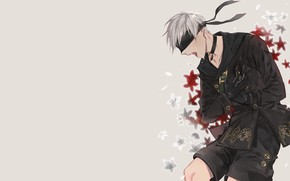 Picture guy, tears, eye patch, Nier Automata, YoRHa No 9 Type S