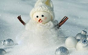 Picture winter, white, balls, snow, branches, background, holiday, balls, hat, toy, Christmas, New year, fur, snowman, …