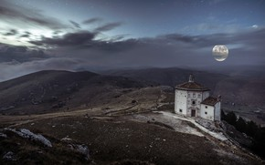 Picture road, the sky, clouds, landscape, mountains, night, old, fog, stones, hills, the moon, the slopes, …