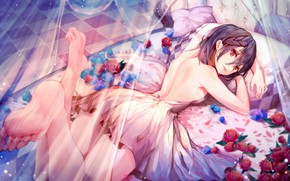 Picture Flowers, Girl, Bed, Roses, Art