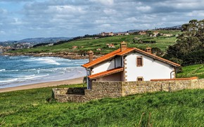 Picture sea, greens, the sky, grass, the sun, clouds, trees, mountains, hills, coast, treatment, houses, Spain, …