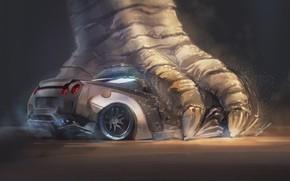 Picture Figure, Monster, Background, Paw, Nissan, GT-R, Godzilla, Art, Art, Skyline, Nissan Skyline, Godzilla, Gull, Nissan …