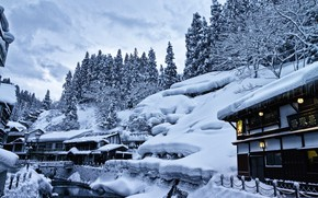 Picture winter, snow, trees, landscape, home, Japan, lights, the snow, source, hotels, Yamagata, Ginzan Hot Spring …