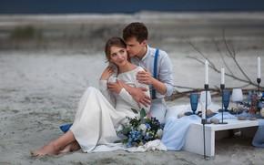 Picture girl, bouquet, dress, hugs, male, lovers, wedding, Anastasia Barmina
