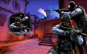 Picture the city, weapons, soldiers, mask, Counter-Strike Global Offensive, Counter-Strike: Global Offensive