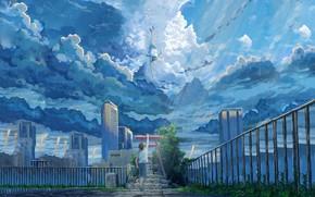 Picture girl, clouds, the city, guy, Hina Amano, Tenki no ko, Hodaka Morishima, Child Of The …