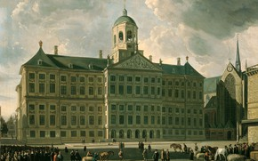 Picture oil, picture, the urban landscape, 1673, Gerrit Adriaenszoon Berckheyde, Gerrit Adriaenszoon Berckheyde, Town hall on …