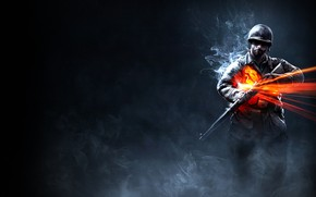 Picture background, smoke, soldiers, helmet, Battlefield 1942