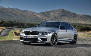 Picture asphalt, mountains, grey, BMW, sedan, 4x4, 2018, four-door, M5, V8, F90, M5 Competition