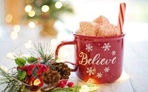 Picture new year, decor, hot chocolate