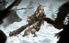Picture girl, snow, the Vikings, Legends of Runeterra