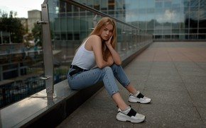 Picture look, pose, model, the building, portrait, jeans, makeup, Mike, hairstyle, blonde, beauty, sitting, sneakers, the …