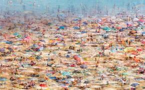 Picture beach, Italy, Lignano Sabbiadoro, composite photo