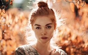 Picture autumn, look, the sun, trees, background, model, portrait, makeup, hairstyle, redhead, bokeh, Ruby James, Neal