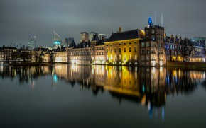 Picture lights, reflection, the evening, Netherlands, Holland, The Hague
