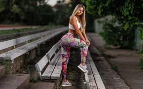 Picture girl, pose, sport, benches, leggings, Ilya Pistols, Nastya Mikheeva