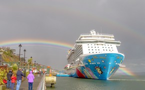 Picture people, ship, rainbow, pier
