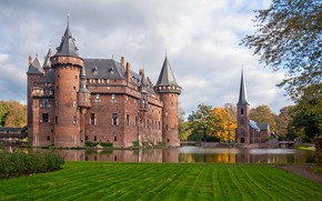 Picture water, castle, Netherlands, architecture, ditch, Netherlands, Utrecht, Utrecht, De Haar Castle, Замок Де Хаар