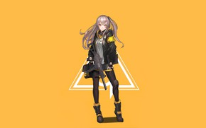 Picture girl, pose, weapons, background, Girls Frontline, Girls front
