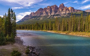 Picture forest, the sky, clouds, trees, mountains, river, stones, rocks, Canada, Albert, Banff National Park, Sunny, …