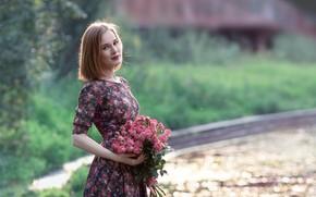 Picture summer, look, girl, flowers, nature, pose, bouquet, dress, lips, beautiful, bokeh, Natalya Dorodnova