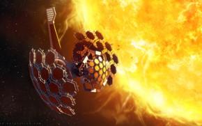 Picture space, fantasy, science fiction, stars, sun, sci-fi, artist, artwork, fantasy art, futuristic, space station, solar …